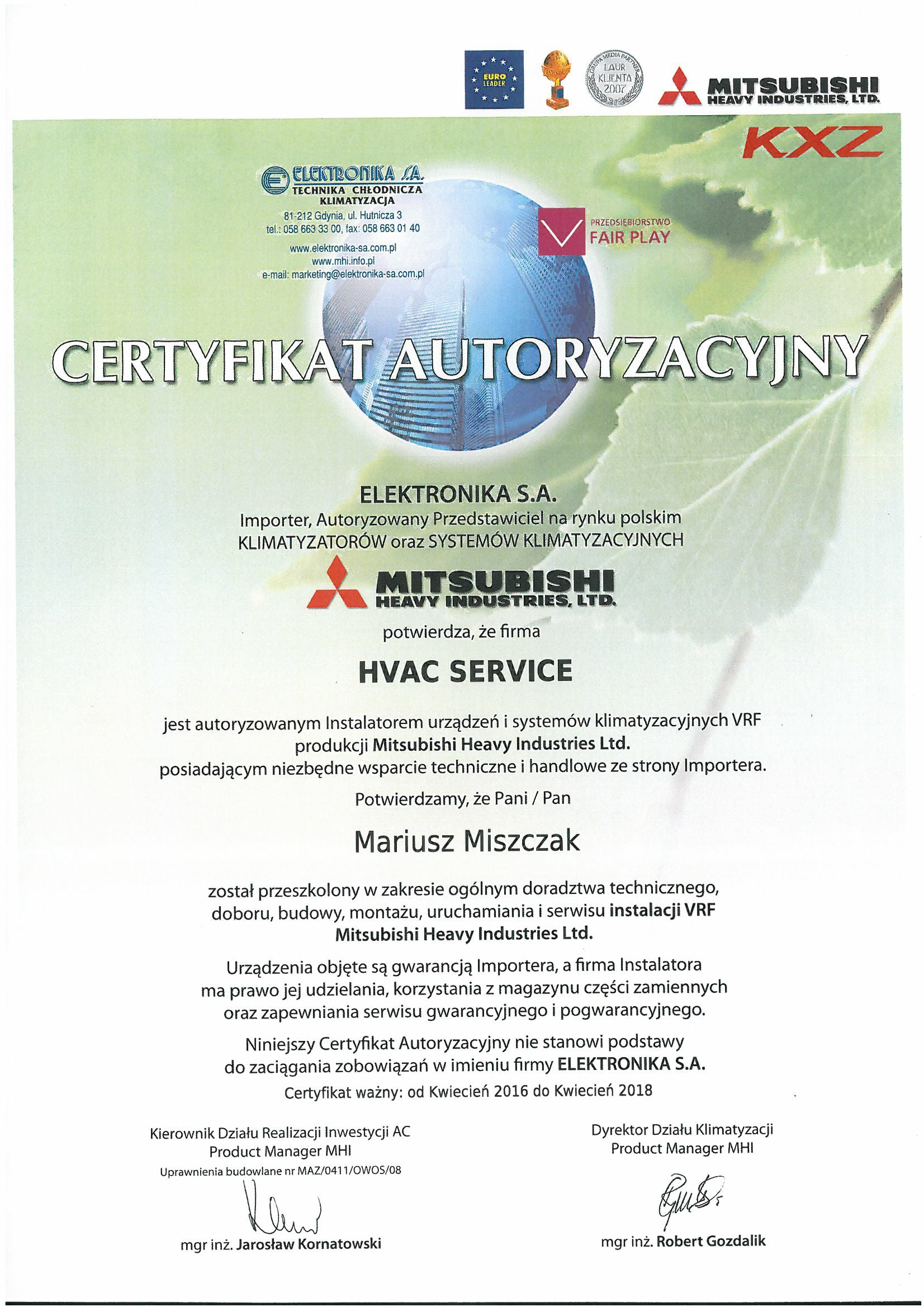 certificates – authorizations – HVAC Service